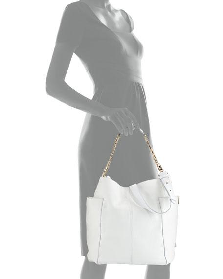 Anna Leather Tote Bag, White