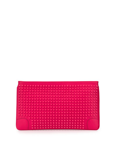 Loubiposh Oversized Spiked Clutch Bag, Fuchsia