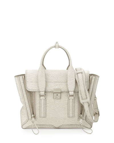Pashli Medium Zip Satchel Bag, Ivory/Dove