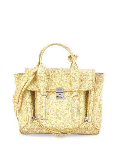 Pashli Medium Satchel Bag, Ivory/Mimosa