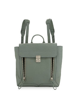 Pashli Leather Zip Backpack, Agave
