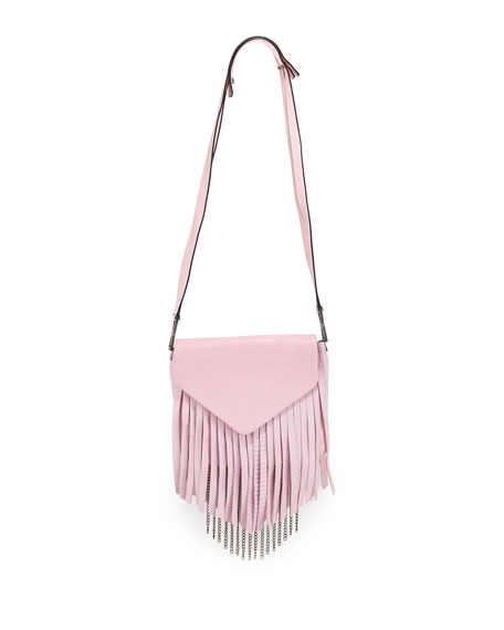 Sylvester Snakeskin-Fringe Bag, Pink