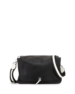 Cynnie Medium Perforated Crossbody Bag, Black/Ivory