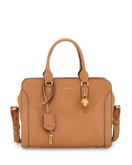 Small Skull Padlock Leather Satchel, Camel