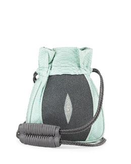 Mignonne Python & Stingray Drawstring Pouch Bag