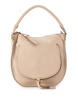 Marcie Leather Hobo Bag, Nude Beige