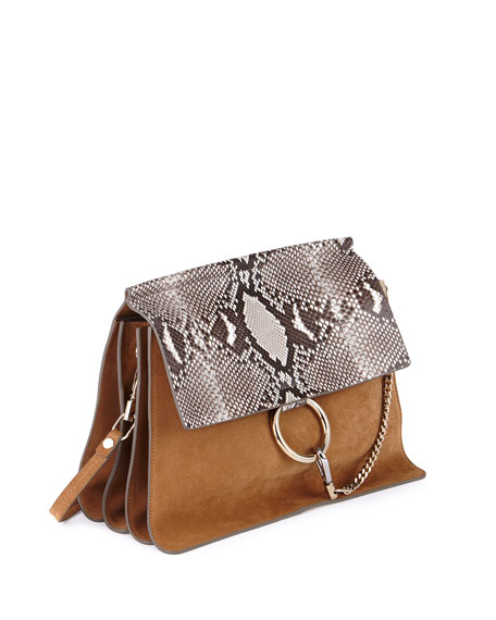 Faye Python Flap Shoulder Bag, Beige