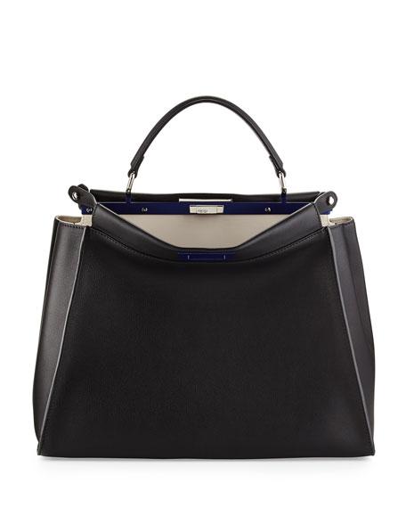 Peekaboo Large Satchel Bag, Black/White