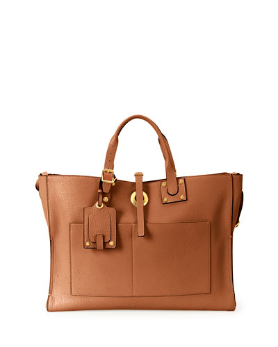 Eye on You Vitello Tote Bag, Tan