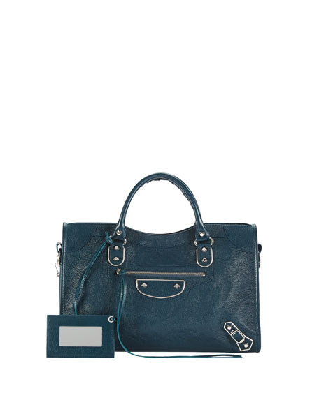 Balenciaga Classic City Metallic Edge Bag, Blue