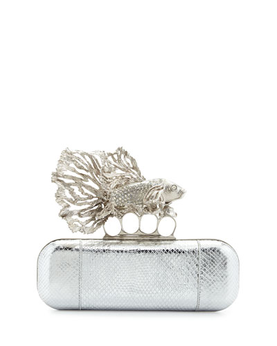 Jeweled Fish Long Knuckle Box Clutch Bag