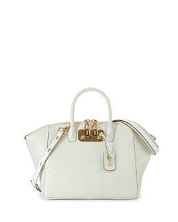 Brera32 Ostrich Satchel Bag, White