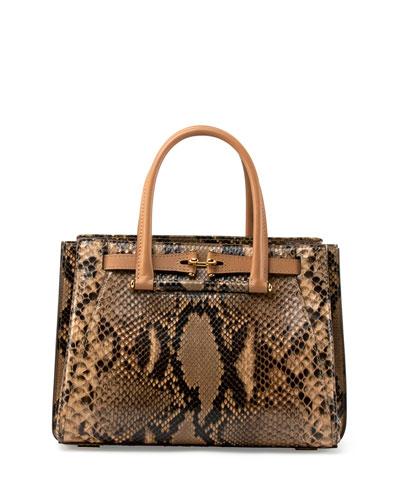 Madison 32 Python Tote Bag, Natural