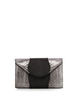 Babo Snake & Stingray Clutch Bag, Silver/Black