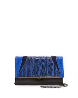 Katerine Mixed Exotic Clutch Bag, Black/Ink