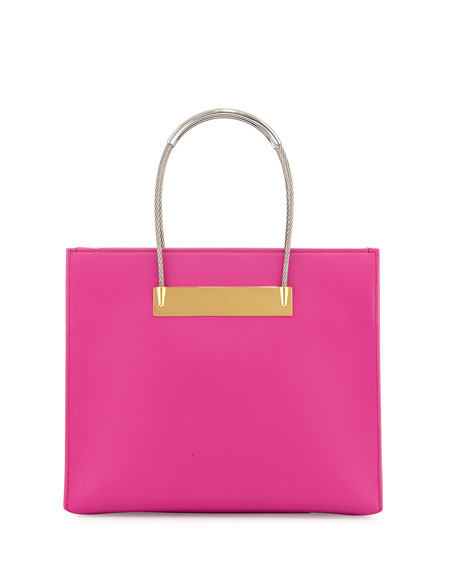 Small Cable Shopper Bag with Strap, Hot Pink