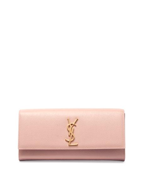 Monogram Leather Clutch Bag, Pale Blush
