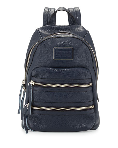 Domo Leather Biker Backpack, Deep Sea Navy