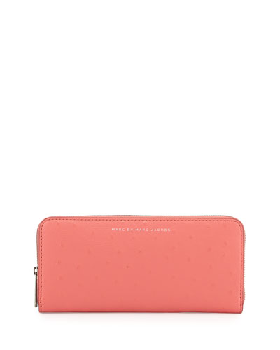 Sophisticato Ostrich-Print Slim Zip Wallet, Rose Blush