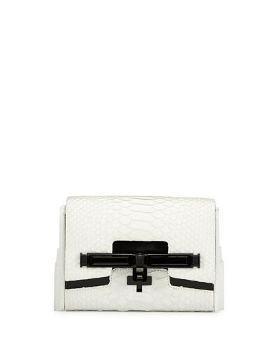 Lux Mini Matte Python Clutch Bag, White/Black