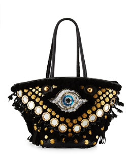 Tuk Tuk Medium Evil-Eye Tote Bag, Black