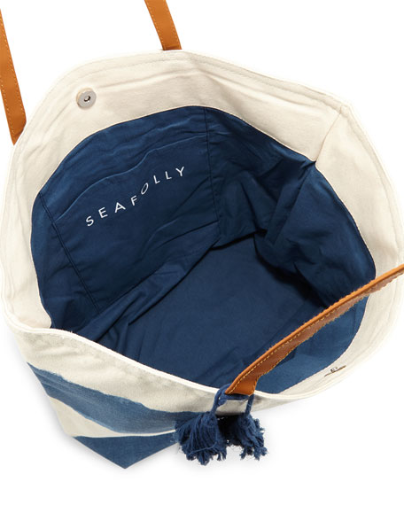 Indian Summer Stripe Tote Bag, Denim