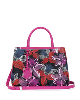 2Jours Petit Leather Orchid-Print Tote Bag, Magenta