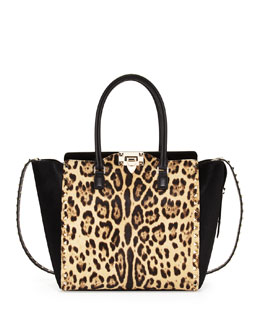 Rockstud Calf Hair Shopper Bag, Leopard Print