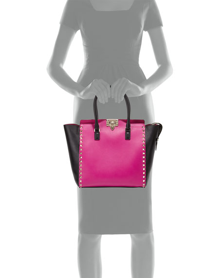 Rockstud Medium Shopper Bag, Pink/Black
