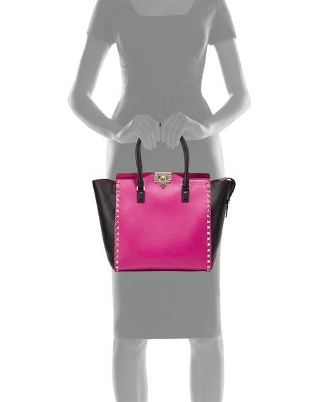 Rockstud Medium Shopper Bag, Pink/Black