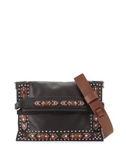 Postino Small Flat Fold-Over Shoulder Bag, Black/Brown