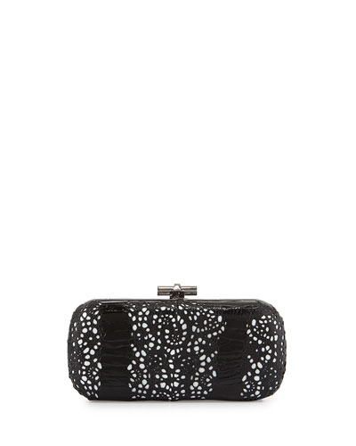 Oval Ostrich Lace Minaudiere, Black/White