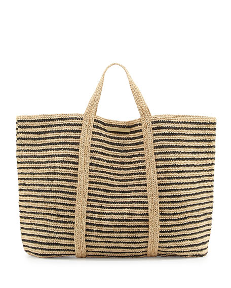 Woven Striped Beach Tote Bag, Black