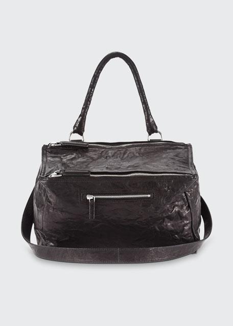Givenchy Pandora Medium Leather Satchel Bag, Black