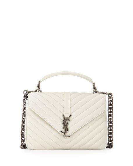 Monogram College Medium Shoulder Bag, Gray/White