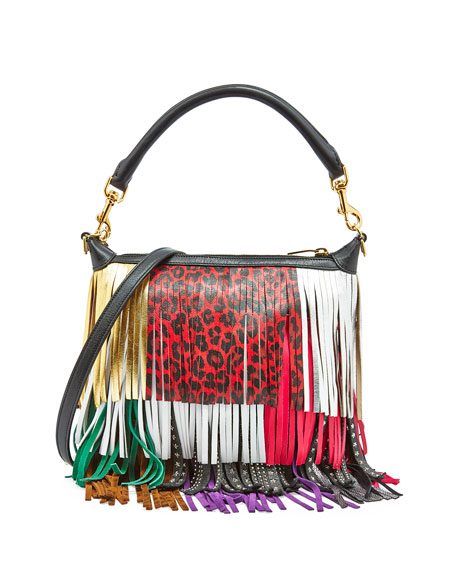 b37e76cebc7 Saint Laurent Emmanuelle Small Leather Fringe Hobo Bag, Black/Multicolor