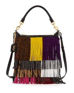 Emmanuelle Small Leather Fringe Hobo Bag, Black/Multicolor