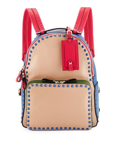 3dc0a38eed Valentino Garavani Rockstud Medium Four-Color Backpack, Beige/Blue/Pink /Green