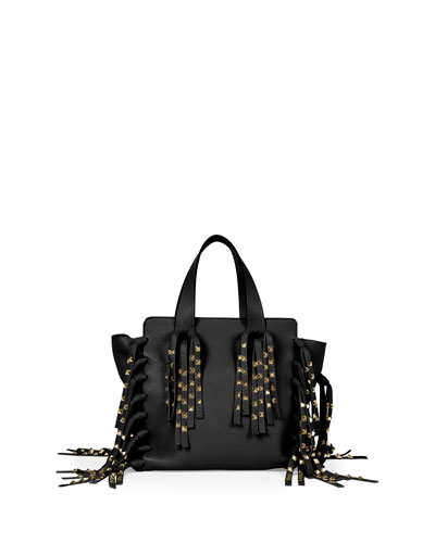 saint laurent classic baby duffle bag - monogram fringe leather shopping tote bag, black