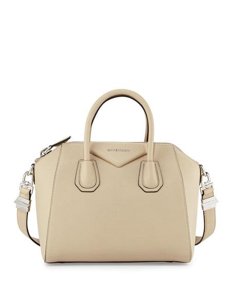 Givenchy Antigona Small Sugar Goatskin Satchel Bag, Beige