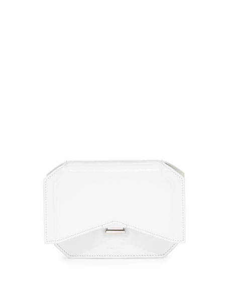 Glossy Bow-Cut Clutch Bag, White