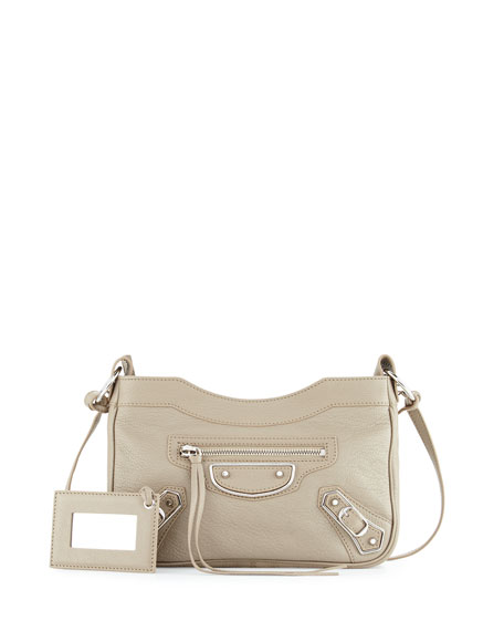 Metallic Edge Nickel AJ Crossbody Bag, Taupe