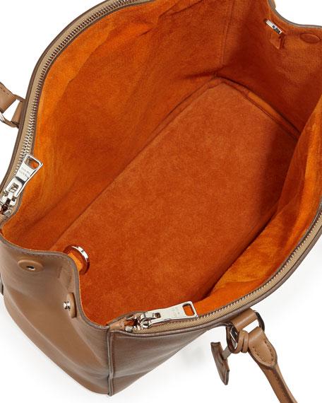 City Calfskin Bicolor Double-Zip Galleria Tote Bag, Caramel/Orange (Caramel+Papaya)
