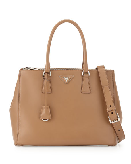 prada leather-accented handle bag