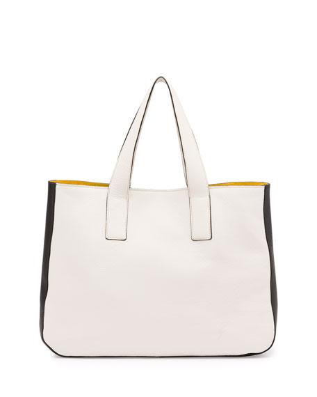 prada black nylon bag - Prada Vitello Daino Medium Open Wide-Strap Tote Bag, White/Black ...