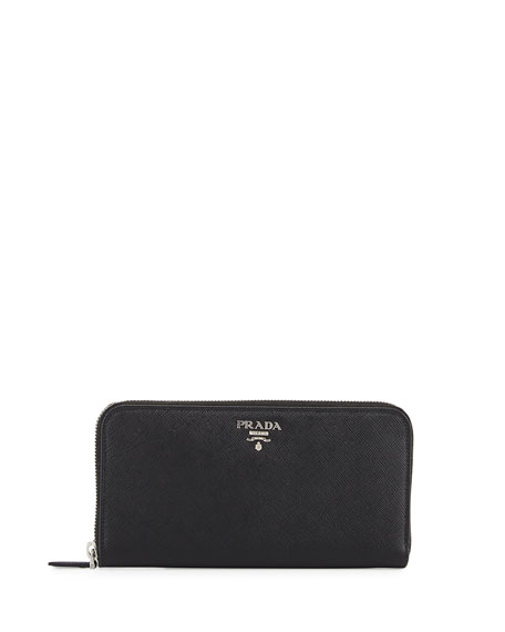 rose prada - Prada Saffiano Zip-Around Continental Wallet