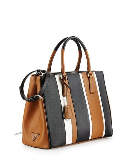 8dc8db34a8d1c7 Prada Saffiano Baiadera Striped Galleria Tote Bag, Camel/White/Black