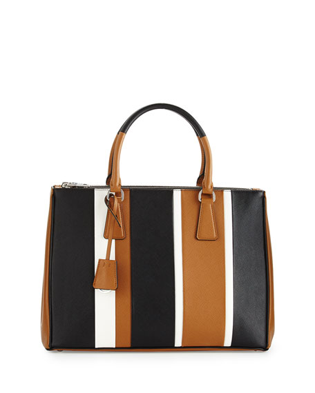 prada sale purses - Prada Saffiano Double-Zip Executive Tote Bag, Black (Nero)