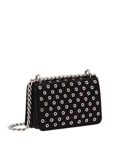 Tessuto/Calfskin Grommet Chain Shoulder Bag, Black (Nero)