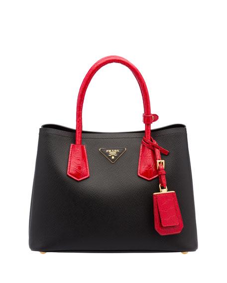 Saffiano Cuir/Crocodile Double Tote Bag, Black/Red (Nero+Rosso)